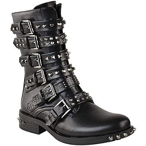 Fashion Thirsty Mujer Tachuela Botines Hebilla Vaquero Motero Tiras Zapato Plano Talla: Amazon.es: Zapatos y complementos