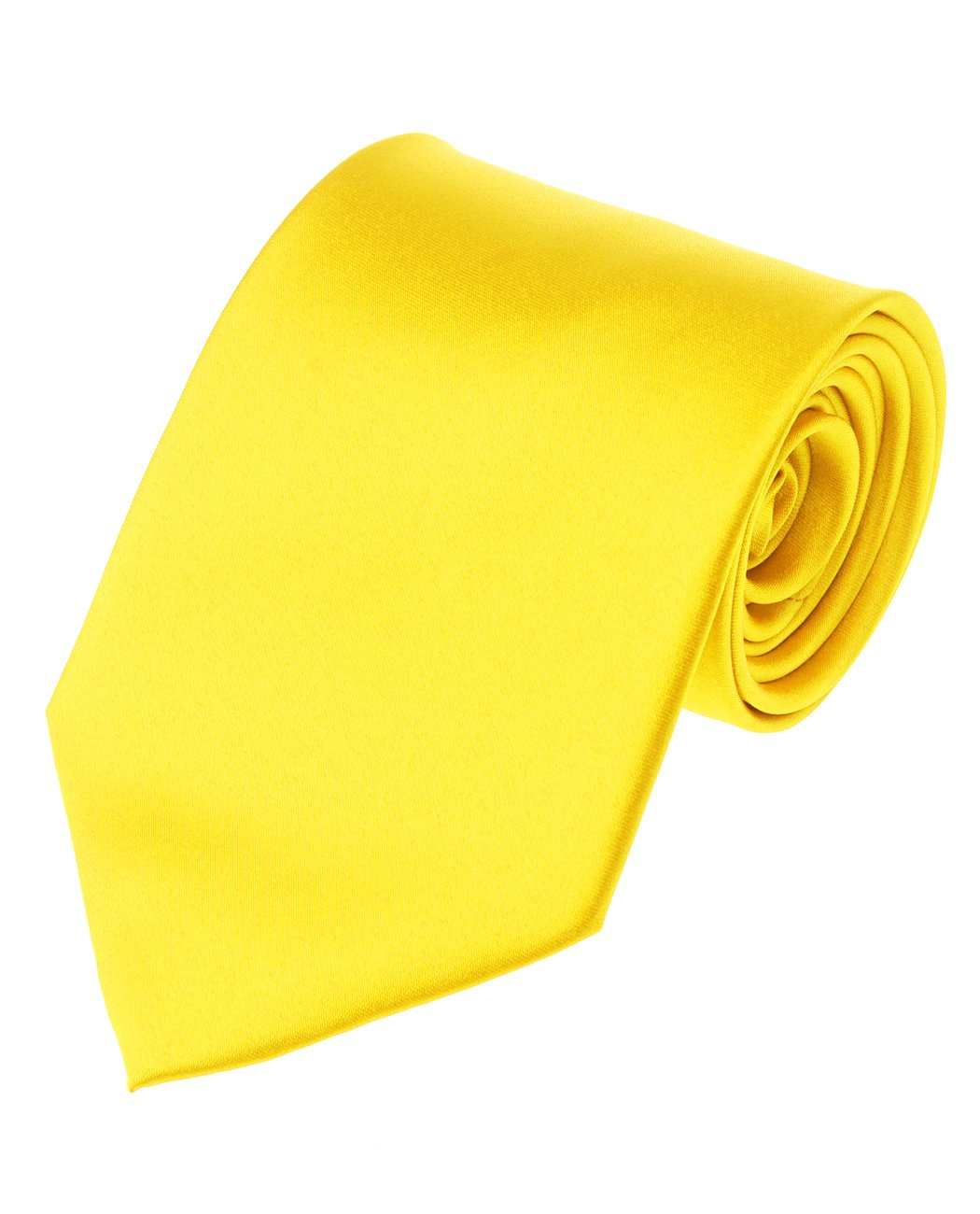Men's Solid Color Polyester Tie PS49-Lemon Yellow