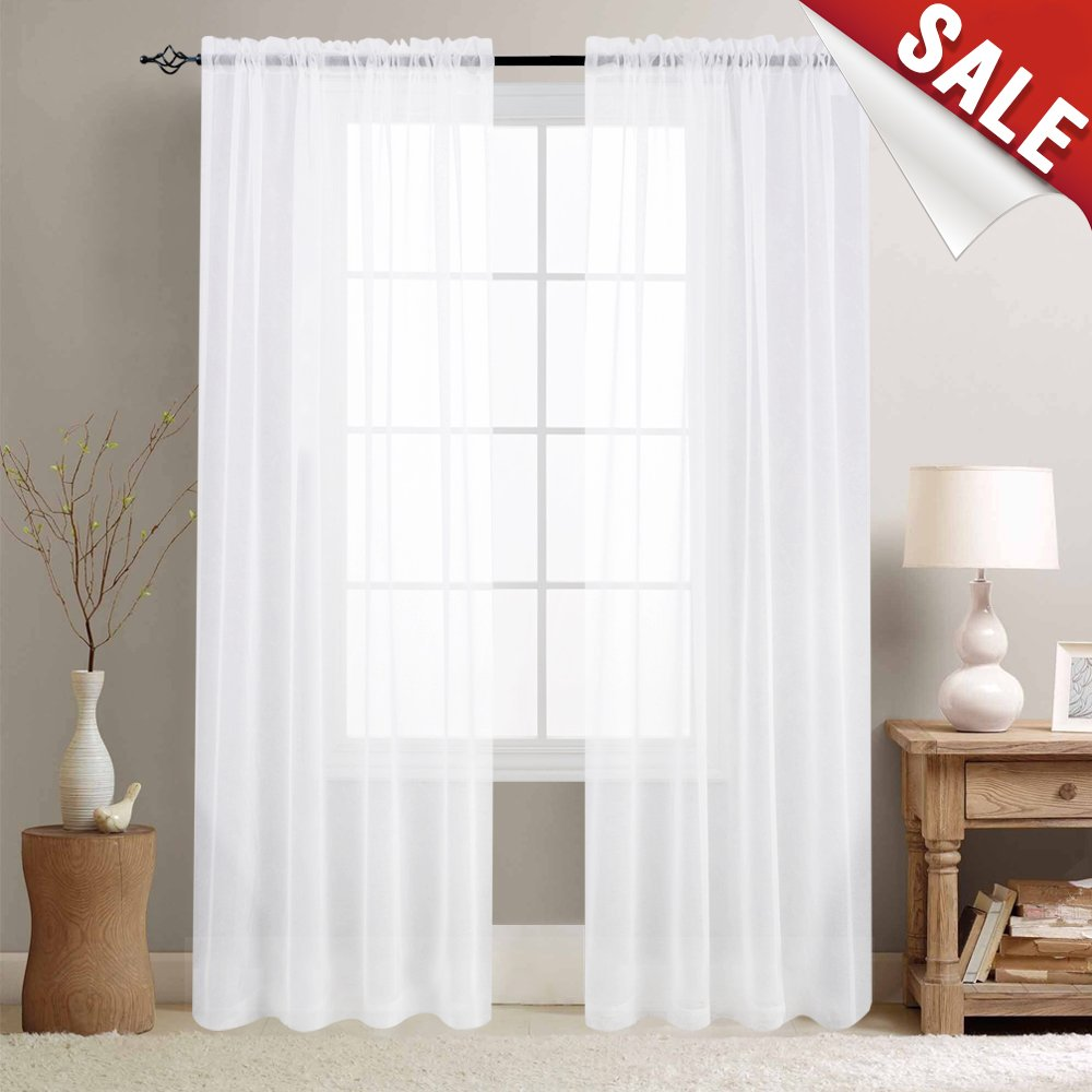 White Sheer Curtains for Living Room 84 inches Long Rod Pocket Sheer ...