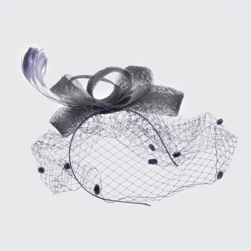 Rawdah Cappello Copricapo Cerimonia Copricapo Donna per Sposa Capelli Fiore Organza con Piuma-Cerchietto con Piuma del Partito Donne Cappello per Accessori di Nuziale del Cocktail