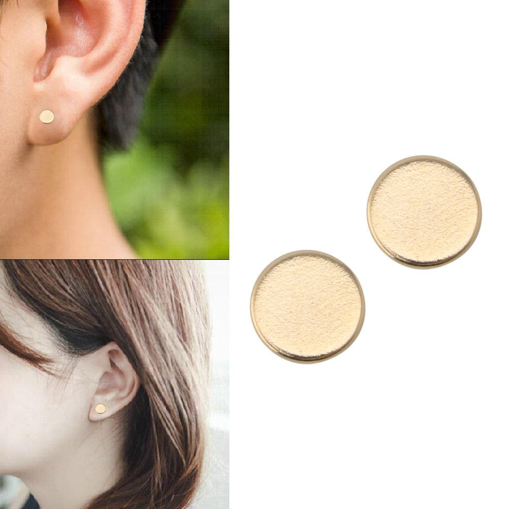 OHTOP 1Pair Weight Loss Healthy Stimulating Acupoints Stud Magnetic Therapy Earrings(Gold,without hole) by OHTOP (Image #2)