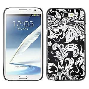 Caucho caso de Shell duro de la cubierta de accesorios de protección BY RAYDREAMMM - Samsung Galaxy Note 2 N7100 - Wallpaper Grey Plant Leaves Design Interior