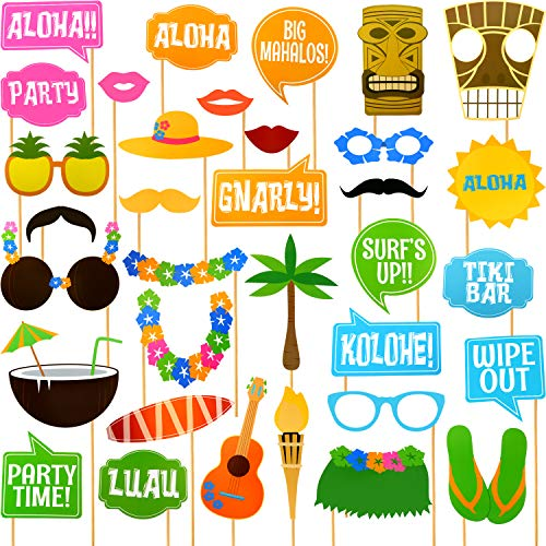 70 Pieces Luau Photo Booth Props, Hawaiian Style Photo Booth Props, Aloha/ Tropical/ Tiki/ Beach/ Summer Pool Party Favors for Kids Supplies (70 Pieces, Hawaiian Party)