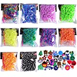 6000 Pcs Rainbow Colored Loom Band 10 Brilliant Tie Dye Colored Rubber Bands with Random Silicone Charms