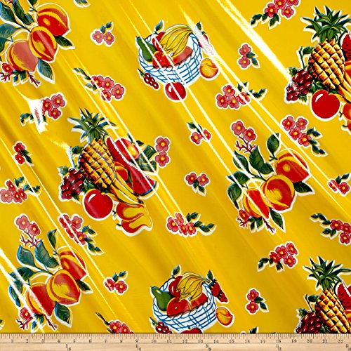 Oilcloth Cane Yellow Fabric By The Yard