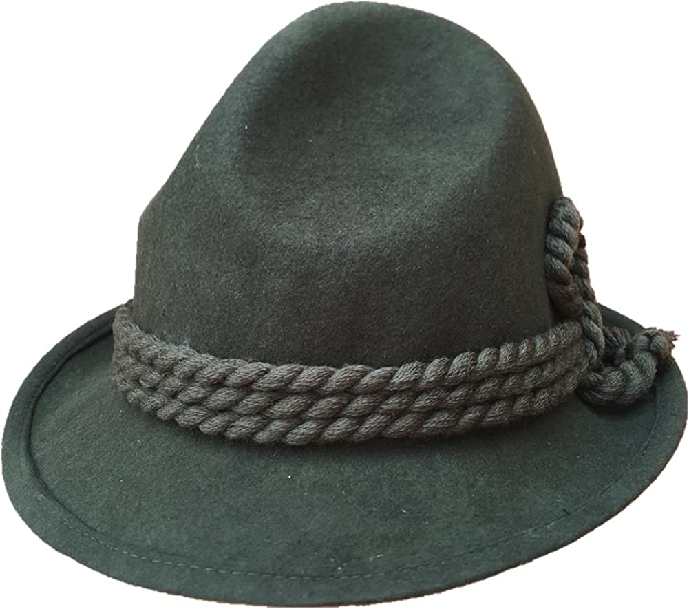 Green German Tyrolean Hat Oktoberfest Wool Felt Bavarian Alpine Chapeau Fedora Rope Hat
