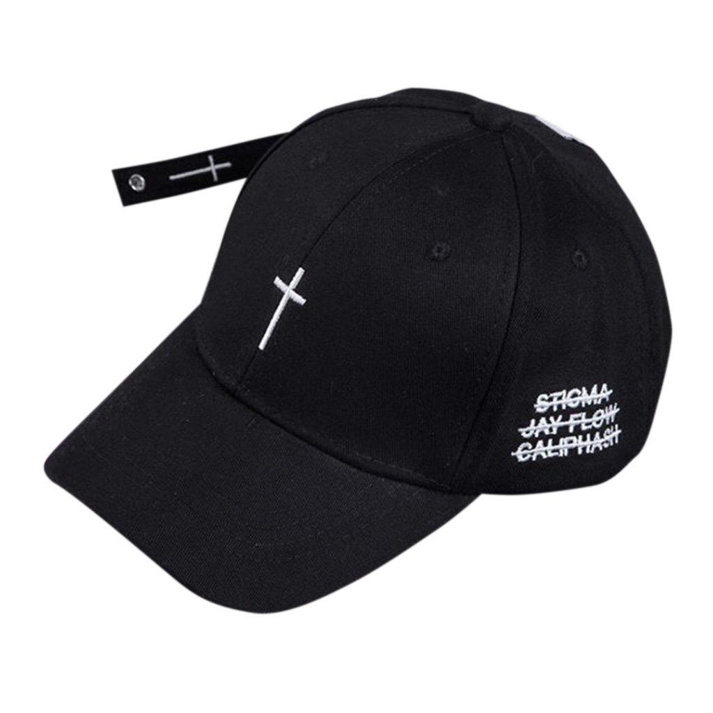 Folewr-8 Ajustable Gorra Beisbol Sombrero Casual Hip-Hop para Hombre Mujer con Cruz Bordada Negro