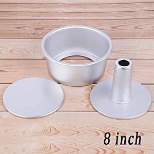 Round Cake Mold Non-Stick Chiffon Hollow Angel Food Cake Pan Removable Bottom Baking Cake Decoration Mould(8 inch)