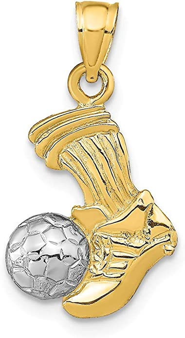 Colgante de balón de fútbol y patada de pie de oro de 14 quilates ...