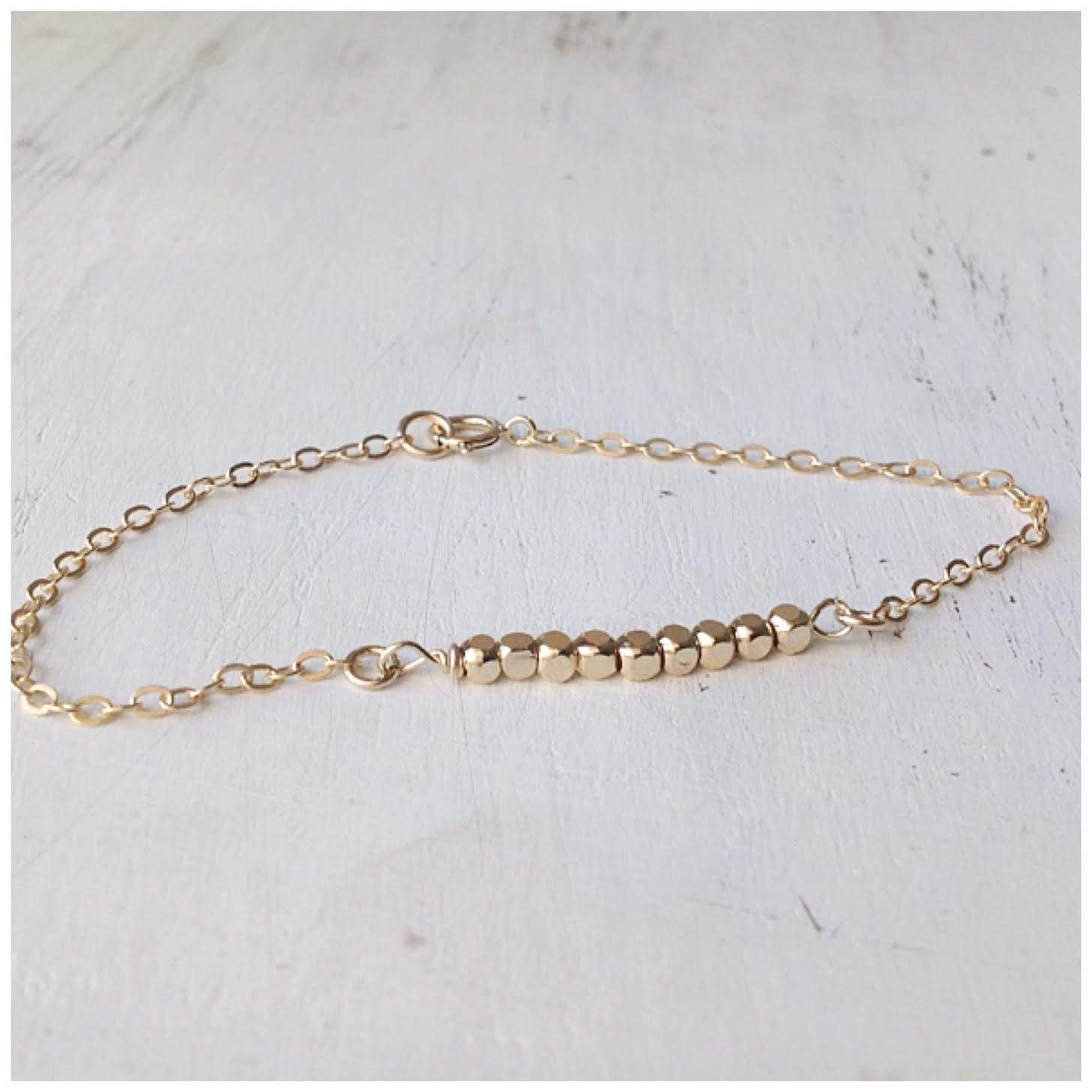 3cc475692 Amazon.com: Gold Bead Bracelet Simple Bracelet Gold Filled Bead Bracelet:  Handmade