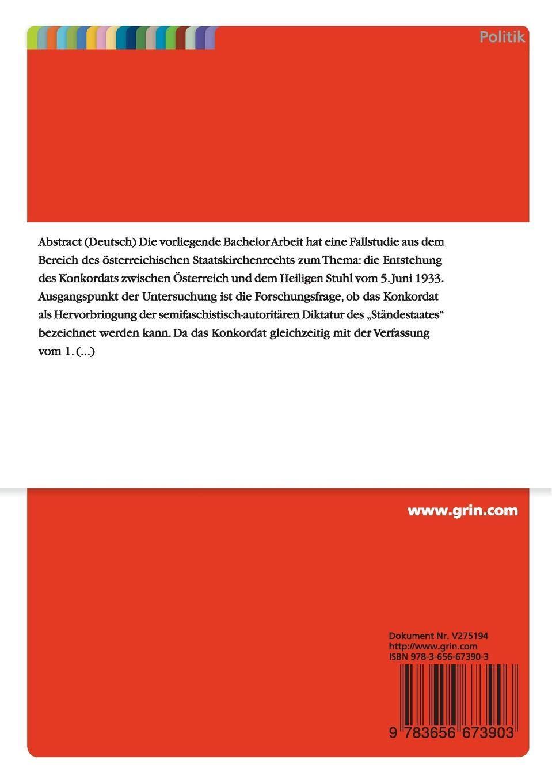 Die Genese Des österreichischen Konkordats Von 193334 Eine Studie