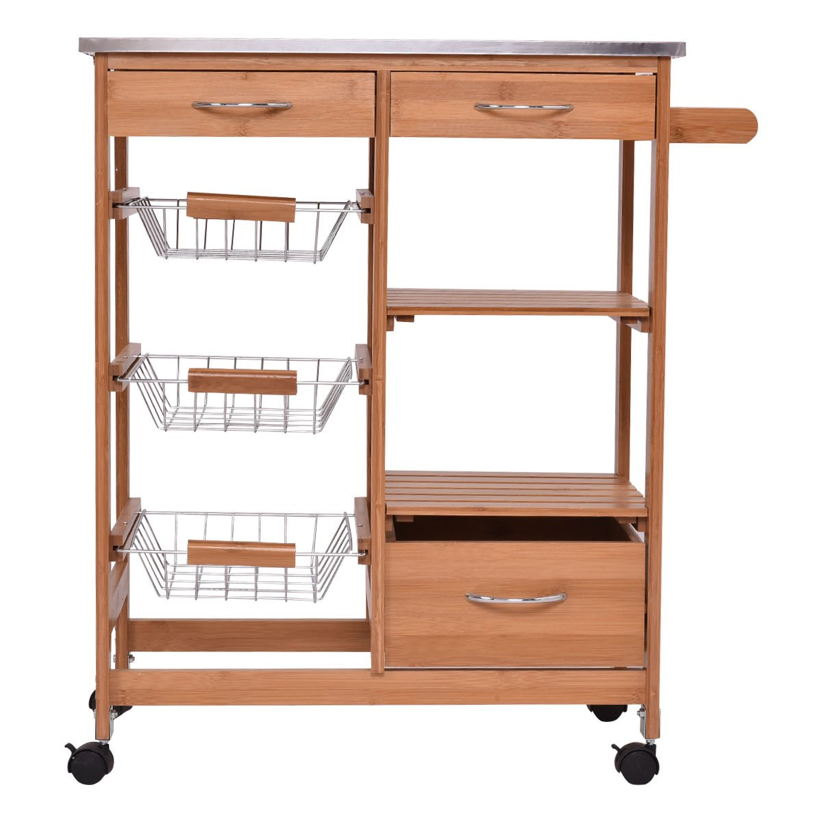 Bamboo portable Rolling Kitchen Island Trolley Cart Storage Shelf Drawers Basket Dining cart is ideal for adding extra counter space to your kitchen.