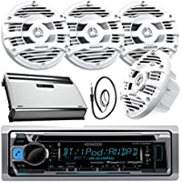 New Kenwood Marine Bluetooth CD MP3 USB AUX iPod iPhone Radio Stereo Player With 4 X 6.5 Inch Kenwood Marine Audio Speakers 4 Channel 360 Watts Marine Amplifier And Enrock Marine 45 Antenna - Complete Marine Outdoor Audio Package (White)