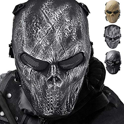 Outgeek Airsoft Mask, CS Protective Full Face Cover Scary Head Skull Mask Costume Party Outdoor