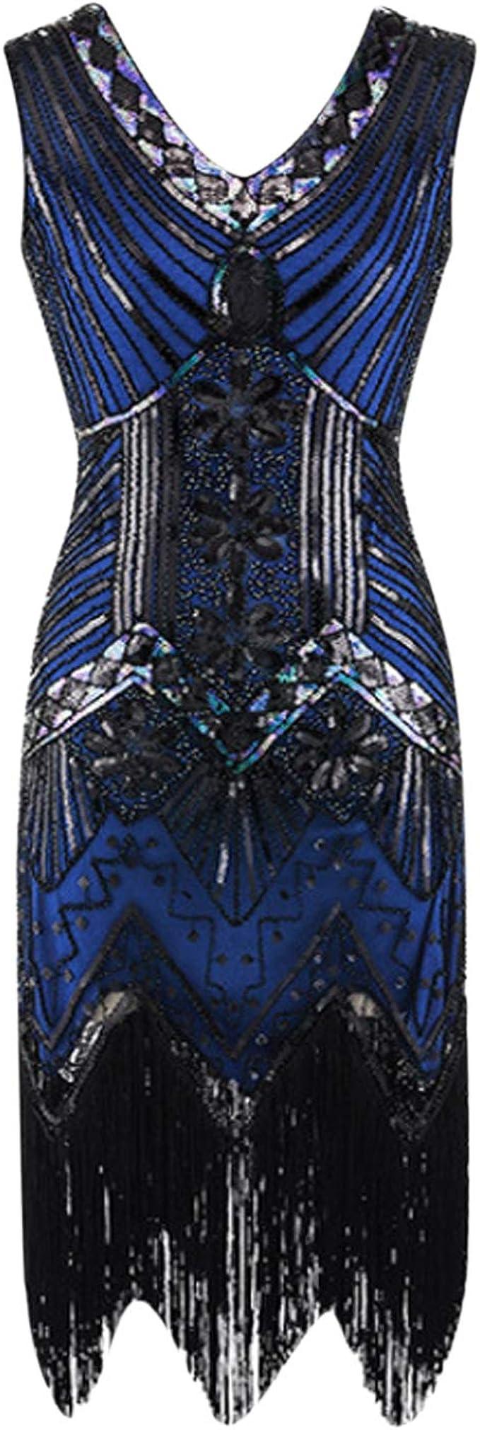 LAEMILIA Damen Kleid Abendmode Ärmellos Cocktailkleid Partykleid 19er  Jahre Vintage Pailletten Fransen Cocktail Great Gatsby Party Kleider