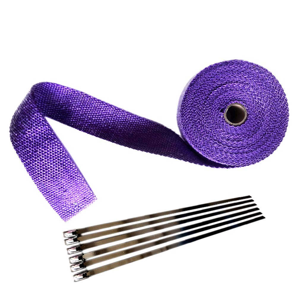 2 x 16 Purple Exhaust Heat Wrap Roll for Motorcycle Fiberglass Heat Shield Tape with Stainless Ties