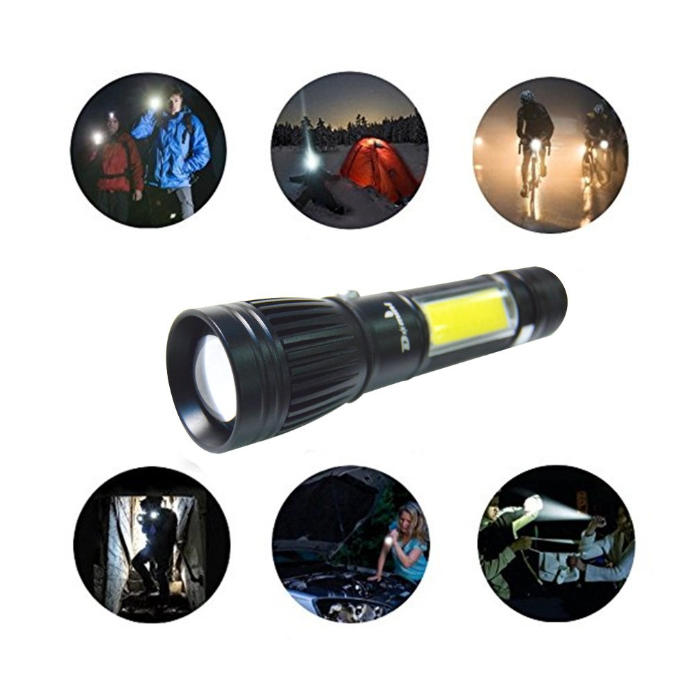 Domini LED Tactical Flashlight - USB Rechargeable Zoomable Flashlight XM-L T6 + COB Torch for Camp Emergency Reading Car Checking and Work with USB charging (18650 battery including) by Domini (Image #5)