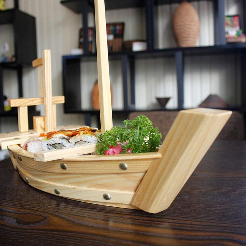 Wooden Sushi Serving Tray Boat Plate for Restaurant or Home 20x7.7x5.1