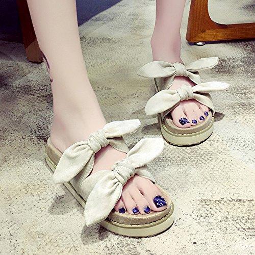RUGAI-UE Hermana suave Mujer Zapatillas de verano lindo arco inferior grueso desgaste zapatillas zapatos antideslizantes Apricot