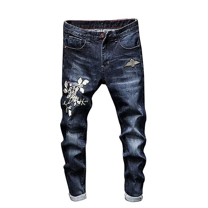 Da Uomo Skinny Fit Pantaloni Moda Uomo Pantaloni casual jeans aderenti blu lavato