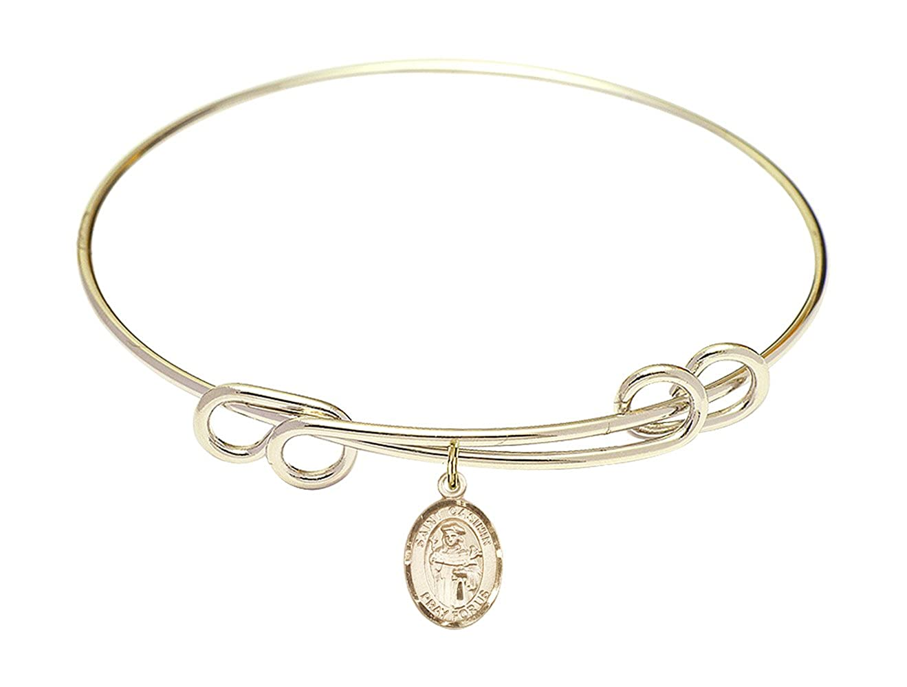 Casimir of Poland Charm. DiamondJewelryNY Double Loop Bangle Bracelet with a St