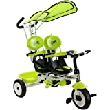 Costzon 4 In 1 Twins Kids Trike Baby Toddler Tricycle Safety Double Rotatable Seat w/Basket