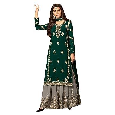 5cc707c851 Amazon.com: Designer Festival Bollywood Collection Straight Kameez Sharara  Custom to Measure festive party wear Ceremony Muslim 2673 5: Clothing