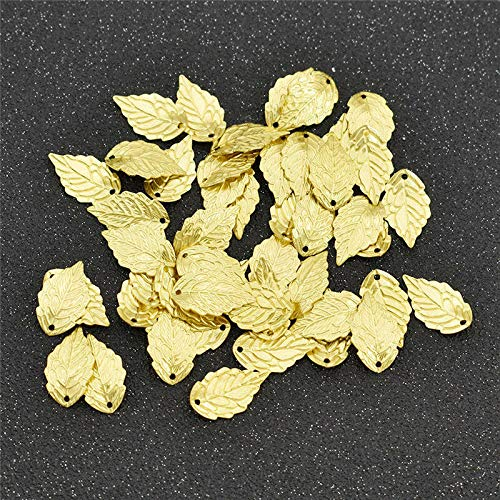 (50pcs Brass Leaf Pendants Gold Charm Leaf Beads Handcrafted Jewelry Making DIY (Color - Brass Color))