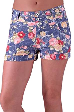 dd8c439d321dc Womens Floral Stretch HotPant Shorts at Amazon Women's Clothing store: