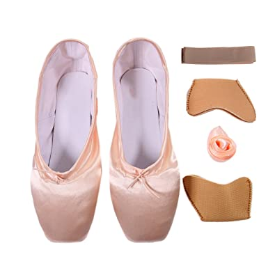 603b85aa135 DoGeek Girls Pointe Shoes Ballet Dance Toe Shoes for Professional Ladies  Satin Pointe Shoes with Ribbon