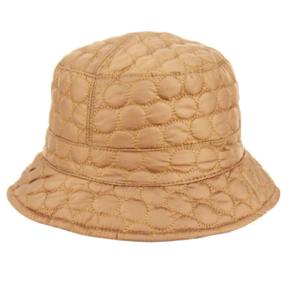 Plum Feathers Foldable Water Repellent Quilted Rain Hat w/Adjustable Drawstring, Bucket Cap (Khaki)