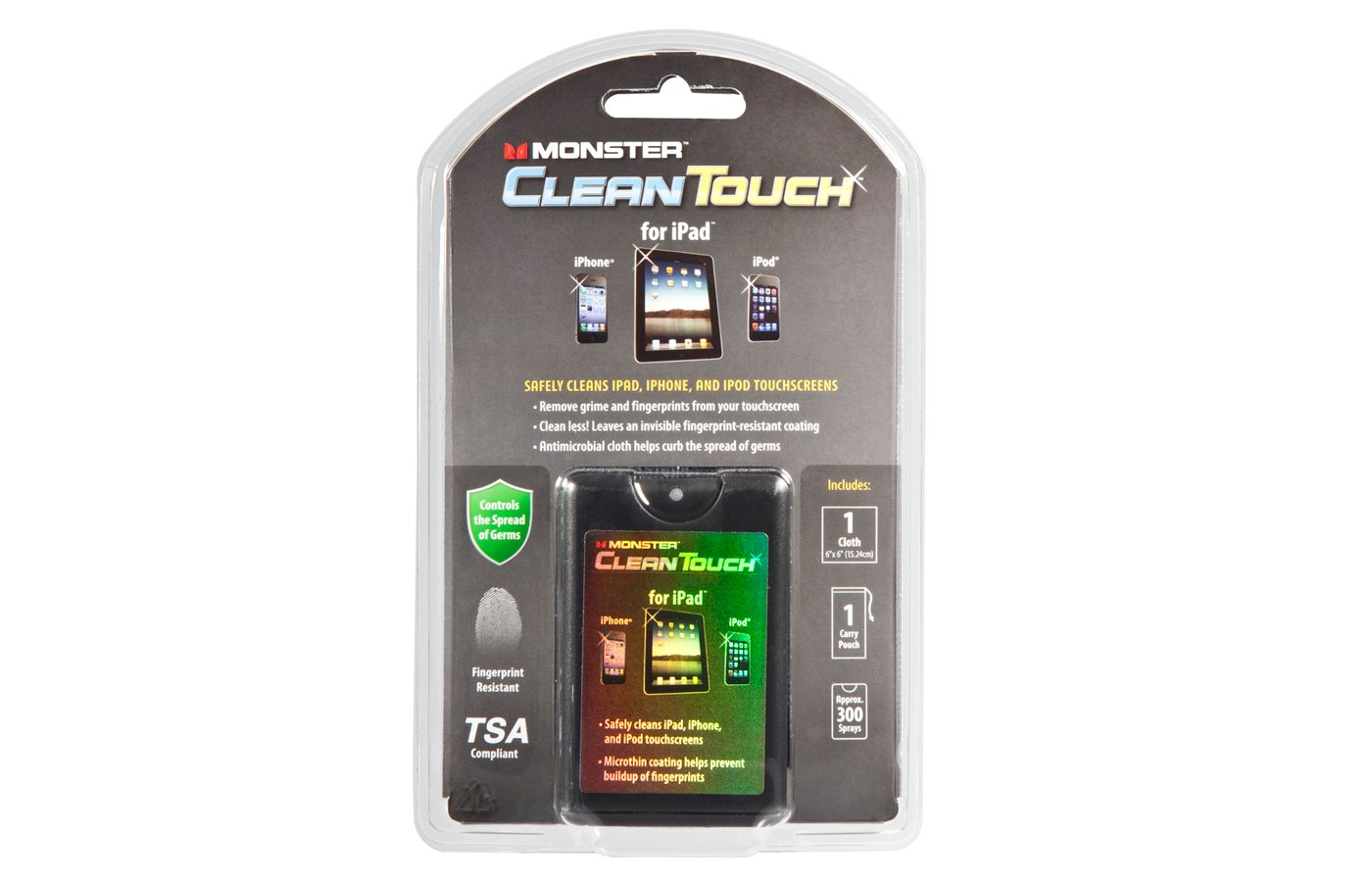 Monster CleanTouch Mobile Device Cleaning Kit, Pouch, Cloth, Travel Bottle