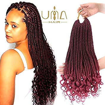 20inch 4Packs Curly Box Braids Hair Synthetic Hair Crochet Braids Goddess  Box Braids Mambo Hair