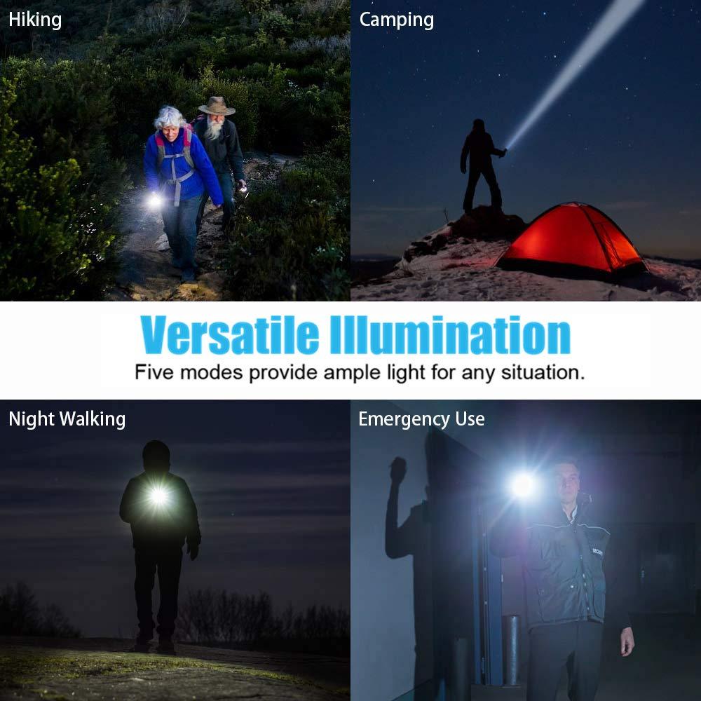 linterna de mano para camping senderismo 18650 bater/ía recargable incluida JaxTec Linterna LED con 5 modos de luz con cargador USB Super Bright High Lumens potente t/áctica