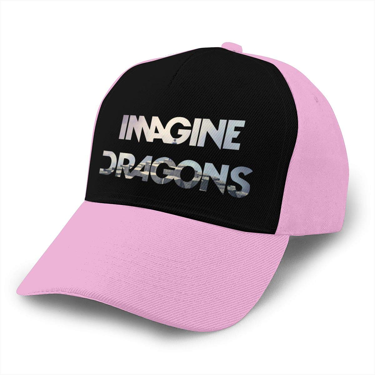 Adjustable Women Men Imagine The Dragons Print Baseball Cap Flat Brim Cap Hats Hip Hop Snapback Sun Hat Boys Girls Pink by Apolonia