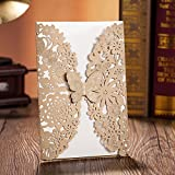 Wishmade 100x Gold Laser Cut Bronzing Wedding Invitation Cards Wedding with Butterfly Hollow Favors Invitation Cardstock for Engagement Birthday Graduation(set of 100pcs)