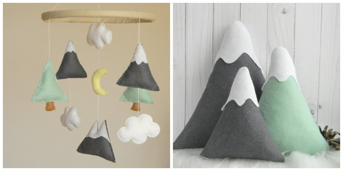 Medium SET - Mountains Baby Mobile Felt Mountains and Mountain pillows Mountain nursery decor, Mint Gray nursery decor