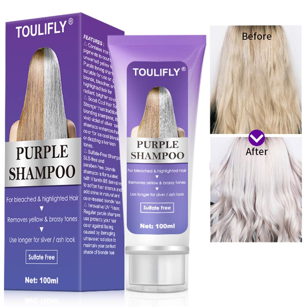 Amazon Com Purple Shampoo Purple Shampoo For Blonde Hair Bleached Silver Or Brown Highlighted Hair For Bleached Highlighted Hair Removes Yellow Brassy Tones Use Longer For Silver Ash Look Beauty