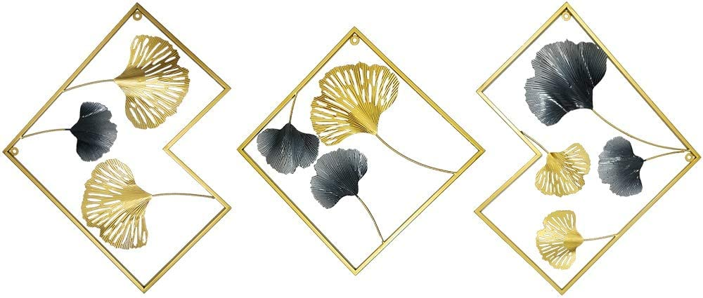 MKUN Iron Wall Sculptures - Set of 3 Metal Diamonded Shaped Wall Décor with Gingko Biloba Art Great for Home Hotel Decoration (Gold&Grey)