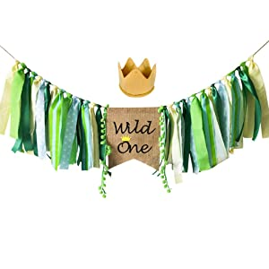 Wild One Banner, Wild One HighChair Banner, HighChair Banner Crown Decorations Set for Baby Girl Boy 1st Birthday Party Supplies, Safari Zoo Jungle Themed First Birthday Highchair Banner Decorations