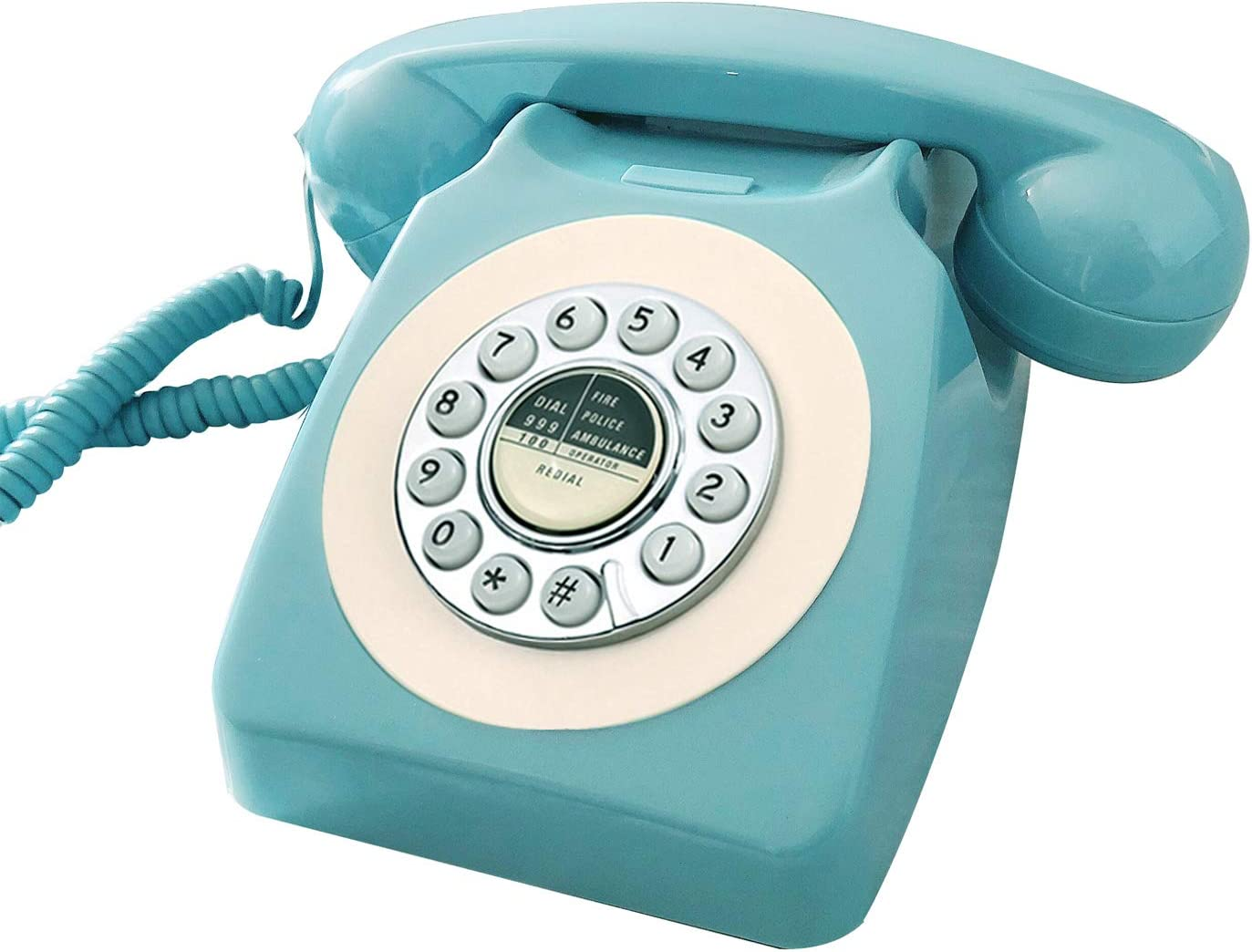 Benotek Retro Telephone, Corded Classic Old Fashion Landline Phones for Home/Office, Wired French Blue Antique Rotary Phone Gift for Art Decor