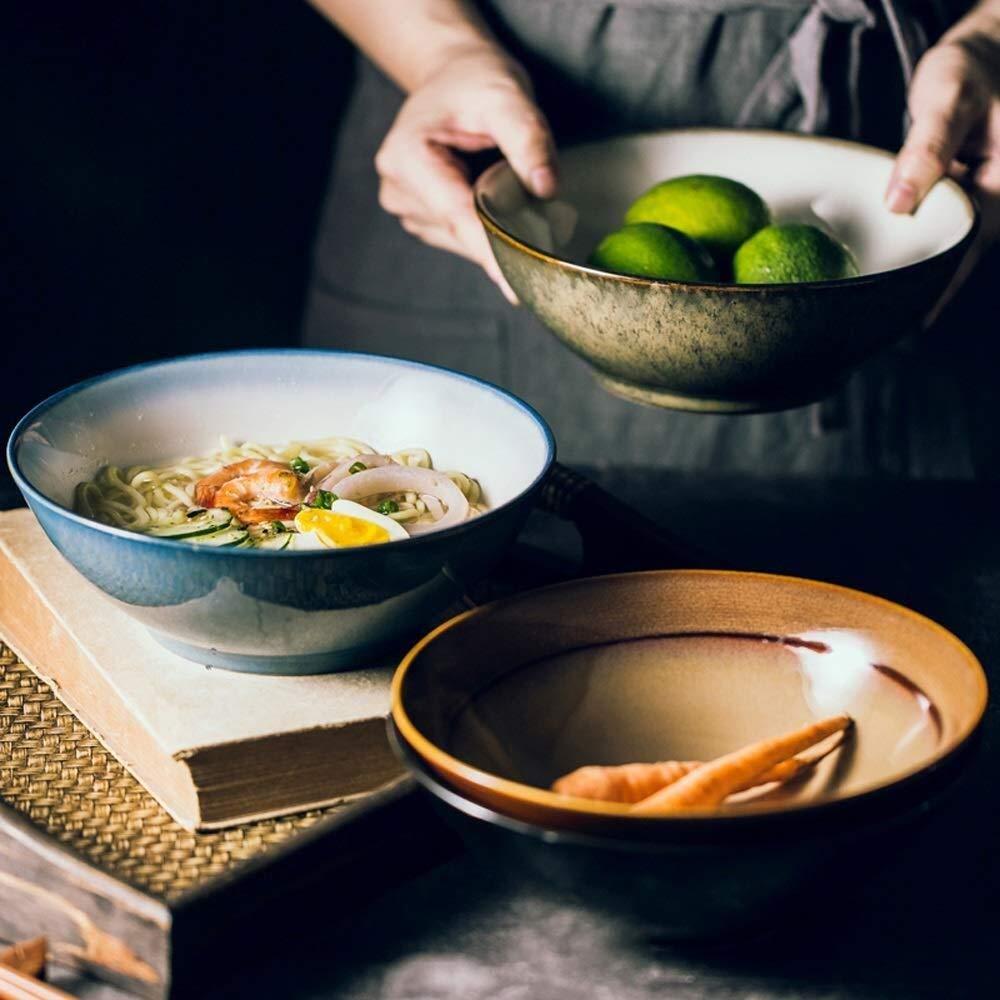 Color : A bol /à dessert japonais de style japonais de cuisine porcelaine Xiao-bowl3 Saladier en c/éramique pour le d/îner bol /à nouilles /à lavoine