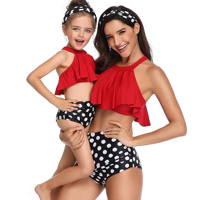 Madre e Hija Ropa Bikinis Traje de baño Mujer Dos Piezas Ropa de baño Mujer Cintura Alta Padre Hijo POLP Camisolas Niña Conjunto Mamá bebés Bañadores ...
