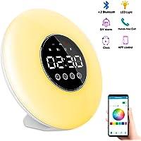 Réveil Lampe Sunrise Lumière Réveil-matin léger avec haut-parleur Bluetooth   Lampe de lecture à 3 niveaux   Lumière 7 couleurs   Lampe respiratoire à 12 modes   Fonction Snooze   Contrôle APP   DIY