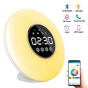 suroper Luz Despertador Luz LED Despertador con 7 Colores   3 Niveles de Brillo   Función