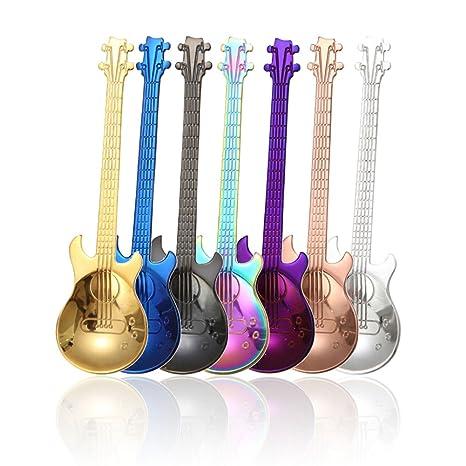 Amazon.com: Guitarra Juego de cuchara, colorido té de acero ...