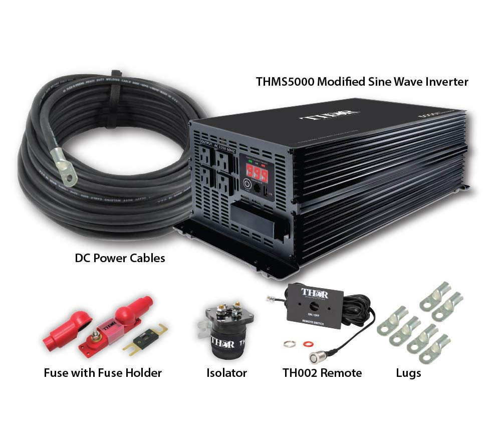 Thor TH5000, TH001 remote with 10 ft of 3/0 cable, 400 amp fuse, 500 amp isolator and lugs x 6 . . . (154979)