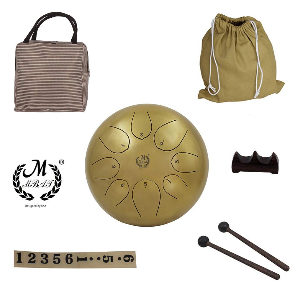 Mowind Steel Tongue Drum Percussion Instrument 10 inch Hand Pan Drum with Drum Mallets Carry Bags CIT INTERNATIONAL LIMITED MW044G