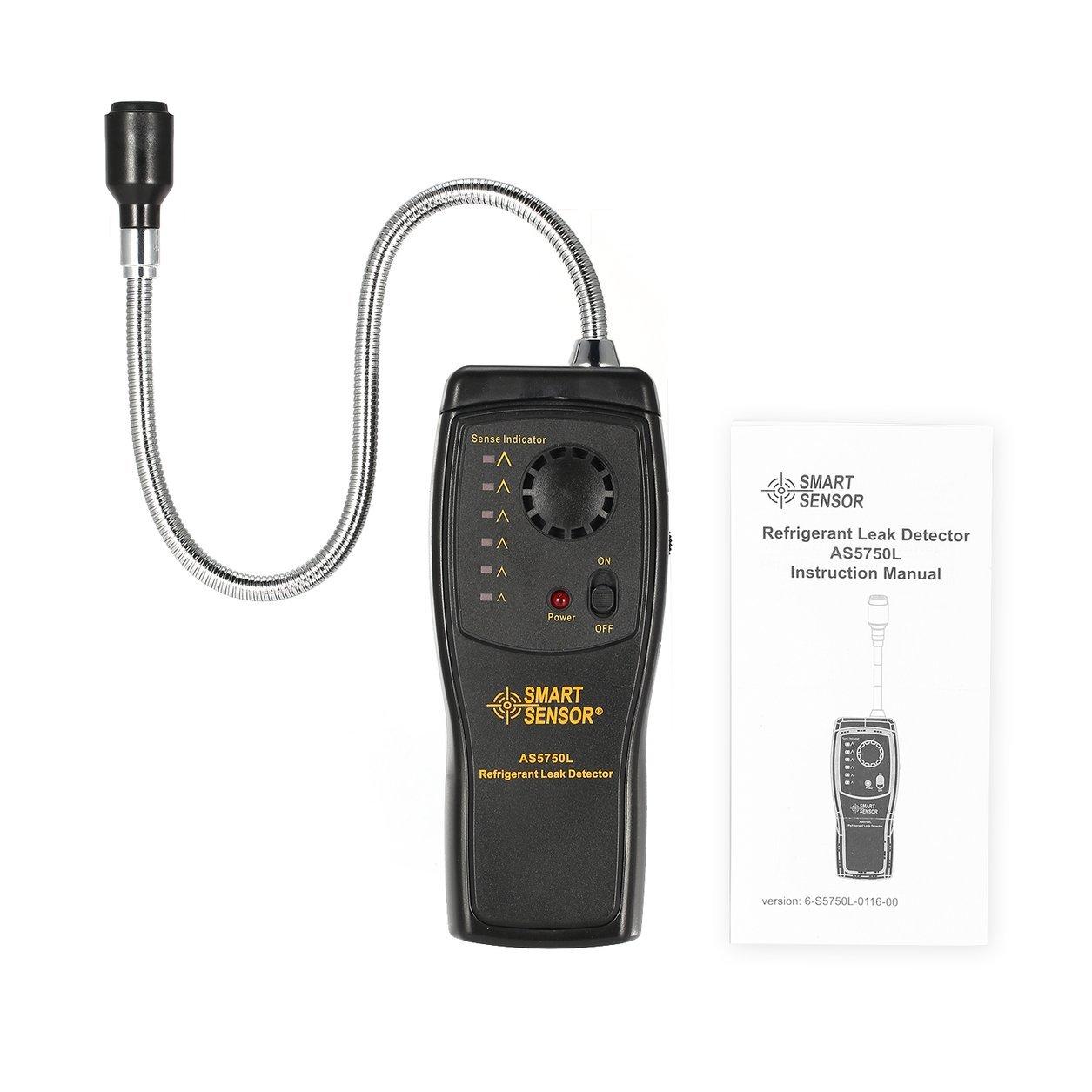 Smart Sensor AS5750L Detector de Fugas de refrigerante halógeno Freon CFC HCFCs Analizador de Gas HFC Monitor de Aire Acondicionado, Negro: Amazon.es: ...