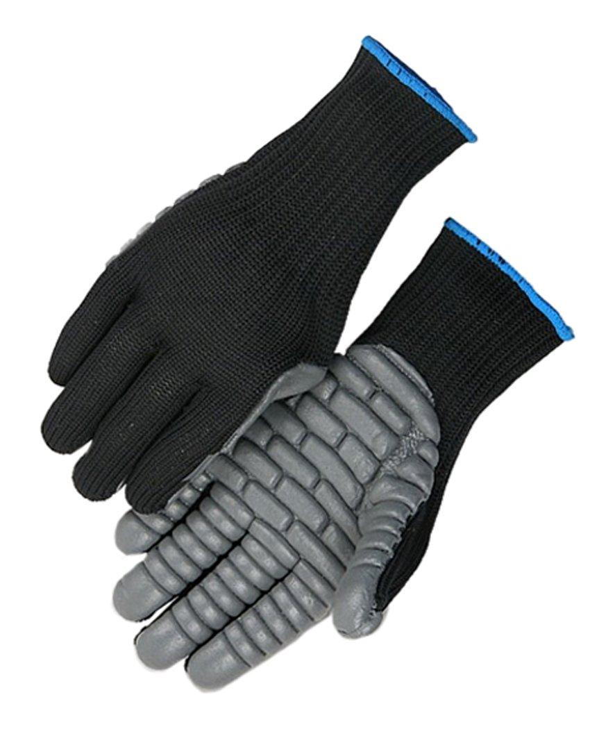 Majestic Glove 1905/10 Industrial Glove, Full Finger Anti Vibration, Nylon, Large, Size 10, Black (Pack of 12)